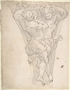 Two Partially Draped Male Figures in a Pendentive