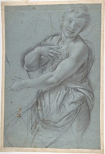 Study for an Angel (recto); Study of a Cushion (verso)