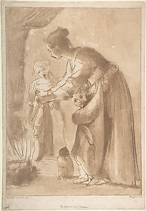A Domestic Scene: Woman Warming Clothes and Children in Front of a Fire