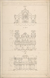Drawing of Interior, Façade, and Rear of Church