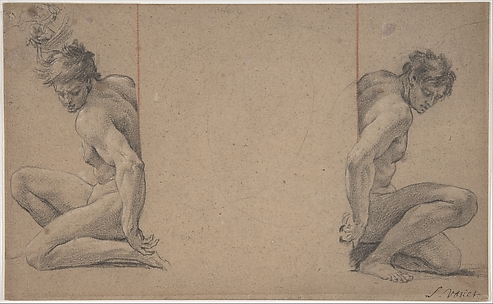 Two Crouching Nude Male Figures