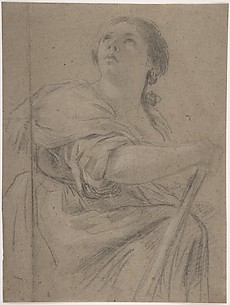 Woman with a Staff Looking Upward