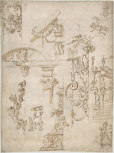 Ornamental sketches with a Griffin and Architectural Elements