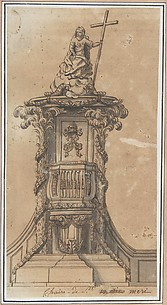 Design for Pulpit with Papal Tiara