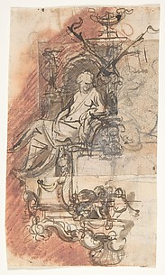 Design for a sepulchral monument with a seated female figure; verso: Design for a statue of a standing male figure and fragment of a letter