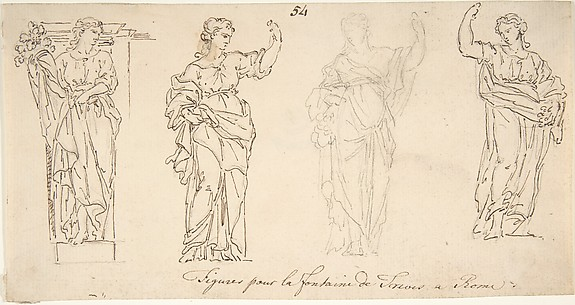 Design for Female Figures for the Trevi Fountain