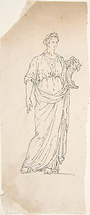 Drawing of Female Statue with Cornucopia