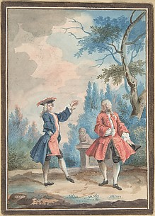 Two dancing male figures in a landscape