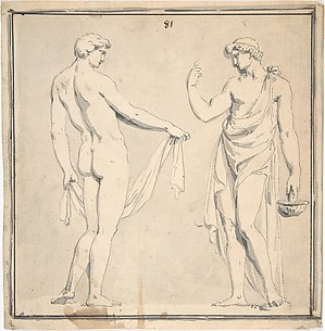 Two Male Figures, one holding a basket
