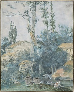 Rustic Scene – A Woman Washing Clothes in a Stream