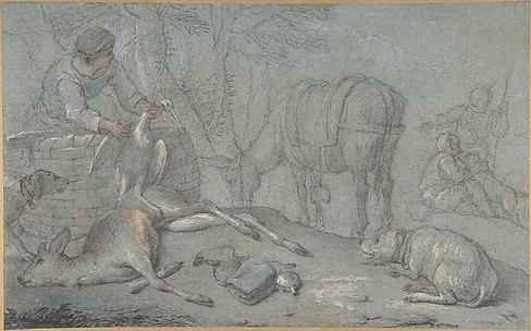 Hunters with Dead Game in a Landscape