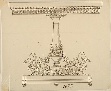 Design for a Table with an Acanthus Leaf and Swan Base