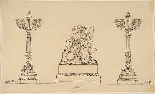 Design for a Set of Candlesticks and a Clock