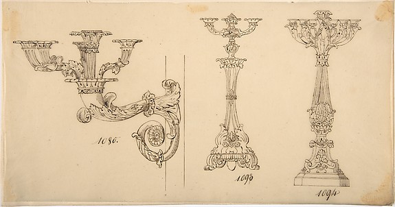 Design for a Sconce and Two Candelabras