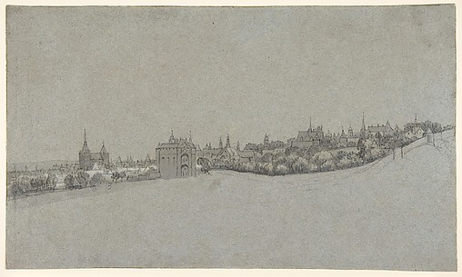 A View of Brussels from the South, with the Halle Gate at Center; verso: Landscape sketch