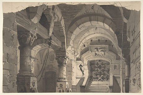 Design for a Stage Set of a Crypt (for the Opera 'La Morosina' ?)