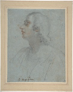 Bust of a Youth Looking to Upper Left (recto); Study of Drapery (verso)