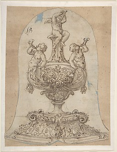 Design for a Vessel with Two Tritons Blowing Horns and a Winged Putto above.