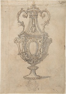 Design for a Vessel Decorated with Volutes, Leaves and a Coat of Arms (Recto). Design for an Urn with studies of a Muscular Nude Male Figure on a Rock and figures for a Baptism (Verso).