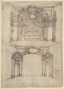 Designs for Bed Alcoves (Recto). Studies for a figure of St. John the Baptist and a Bed Alcove (Verso).