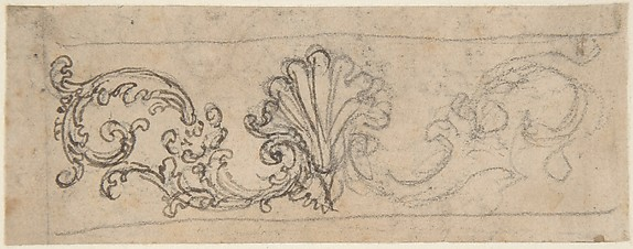 Design for a Frieze Decorated With a Sea-Shell and Floral Volutes (Recto). Two Designs for a Rosette Decoration (Verso).