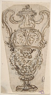 Design for a Two-Handled Urn Decorated with Garlands, Leaves and the Head of a Satyr.