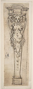 Design for a Bed Alcove Sculpture or Pedestal with a Winged Caryatid Motif.