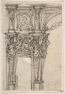 Design for a Doorway at the Side of an Arch with Two Caryatids and a Frieze above.