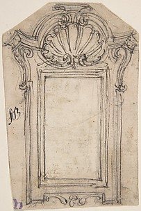 Design for an Altarpiece Frame Decorated with Volutes and a Sea-Shell.