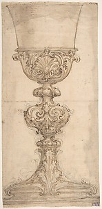 Design for a Chalice with Acanthus and Shell Decoration.