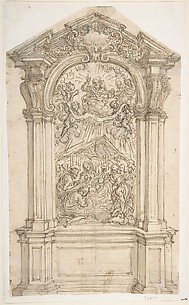 Design for an Altar with a Painting of the Adoration of the Shepherds with God the Father Above.