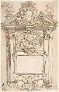 Design for a Tomb with Portraits in Oval Frame.