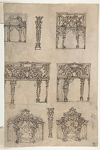 Designs for Archways and Baldachins with Caryatids and Coats of Arms (Recto). Design for a Monument with Statues of Prudence and Fortitude (Verso).