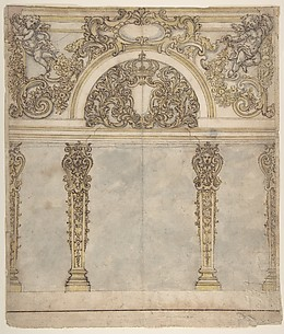 Design for an Alcove with a Coat of Arms Flanked by Putti Bearing a Crown, Supported by Pilasters with Human Heads in Capitals.