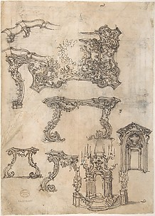 Design for a Funerary Monument with Prudence and Fortitude and a Female Figure (Faith?) in Prayer above.