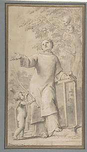 Saint Lawrence Standing and Holding the Grill, Instrument of His Martyrdom