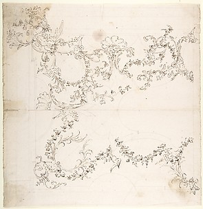 Design for a Ceiling Decoration with Putti and Garland Motifs.