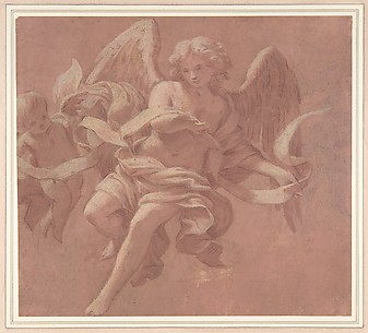 Putto and Angel Holding a Banderole.