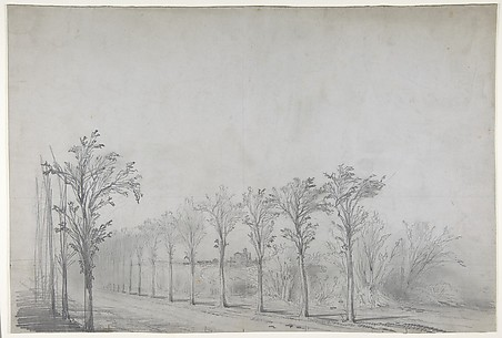 Design for a Stage Set at the Opéra, Paris: Tree-Lined Road