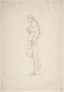 Sketched Caricature of a Standing Man Facing Left