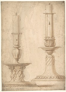 Design for Two Candlesticks with decorated Bases