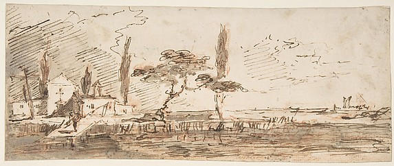 The Island of Anconetta (recto); Two Feet Wearing Pointed Shoes (verso)