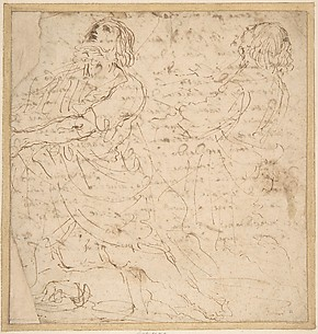 Two Studies of a Kneeling Male Figure