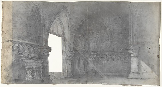 Design for a Stage Set at the Opéra, Paris: Church Interior