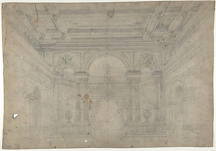 Design for a Stage Set at the Opéra, Paris: Interior with Coiffered Ceiling