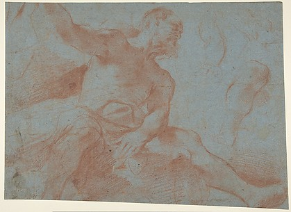 Seated Old Man with Right Arm Upraised (Tithonus)(recto); Seated Nude Youth (figure of Day) (verso)