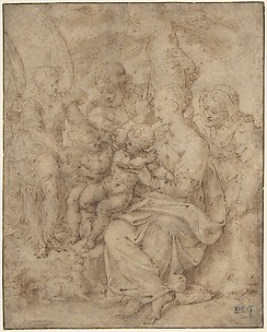 The Holy Family with the Infant Baptist, Saint Elizabeth, and an Attendant Angel