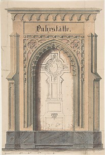 Design for gothic archway and cross