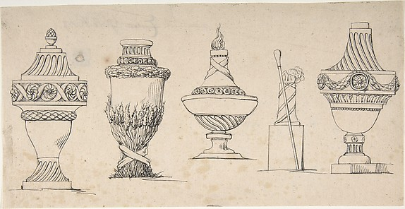 Studies for four urns with a walking stick and hat