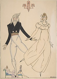 Costume design for elegant lady and gentleman dancers